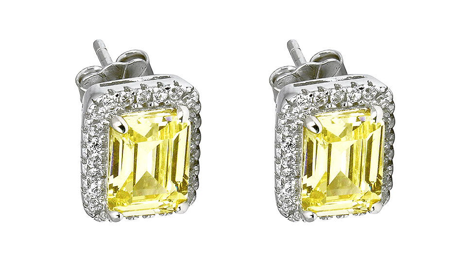 Canary inspired CZ studs with halo. Post back