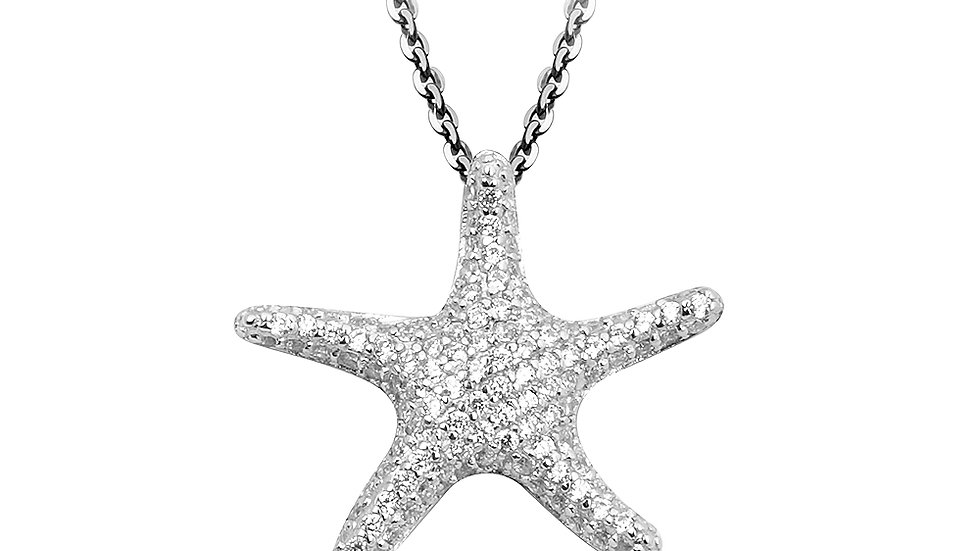 Micro pave starfish pendant in sterling silver