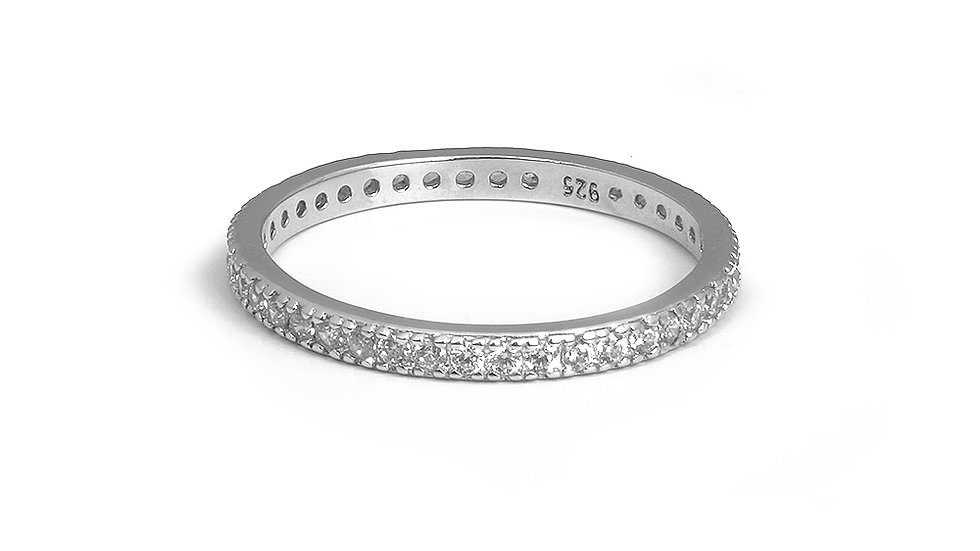 2mm wide sterling silver eternity band with cubic zirconia stones