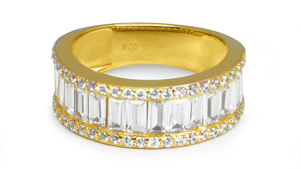 Gold plated silver band with cubic zirconia stones