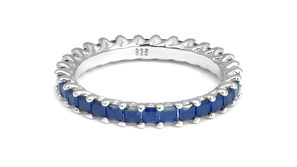 Created Sapphire band in silver