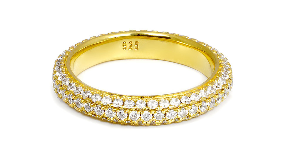 Gold cz pave band