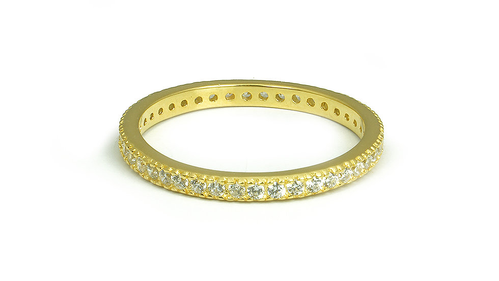 2mm Gold plated band with cubic zirconia stones all around