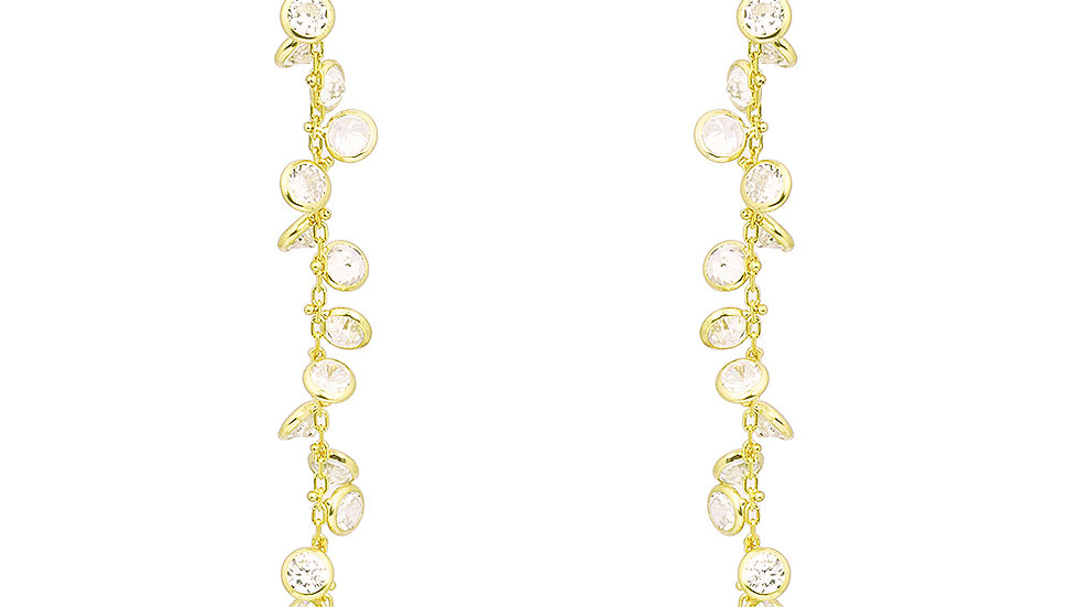 18kt gold plated cubic zirconia drop earrings. Length: 70mm