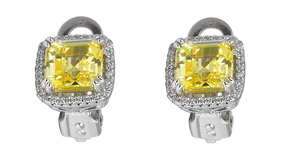 Small canary colored cubic zirconia clip earrings