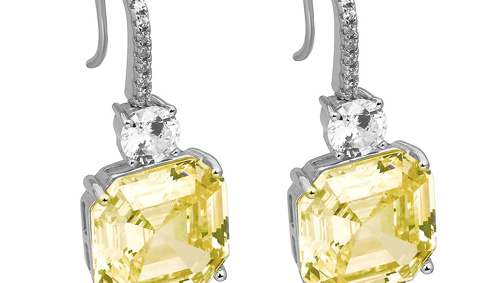 Canary inspired CZ drop earrings. Cushion cut