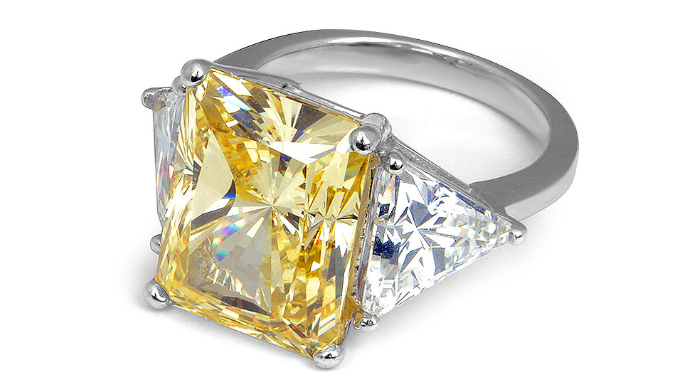 Yellow cubic zirconia travel ring. Set in sterling silver, rhodium plated.