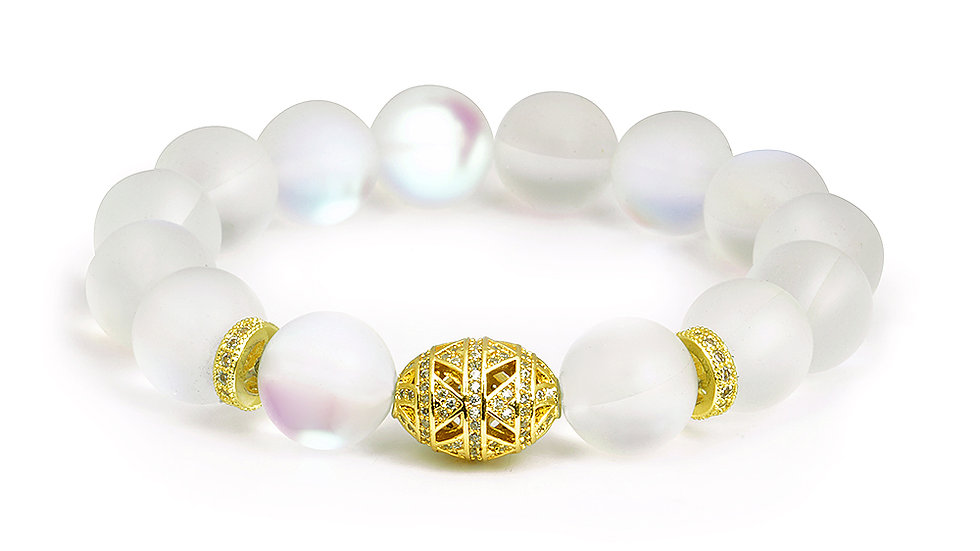 Moonstone inspired stretchy bracelet with gold elements