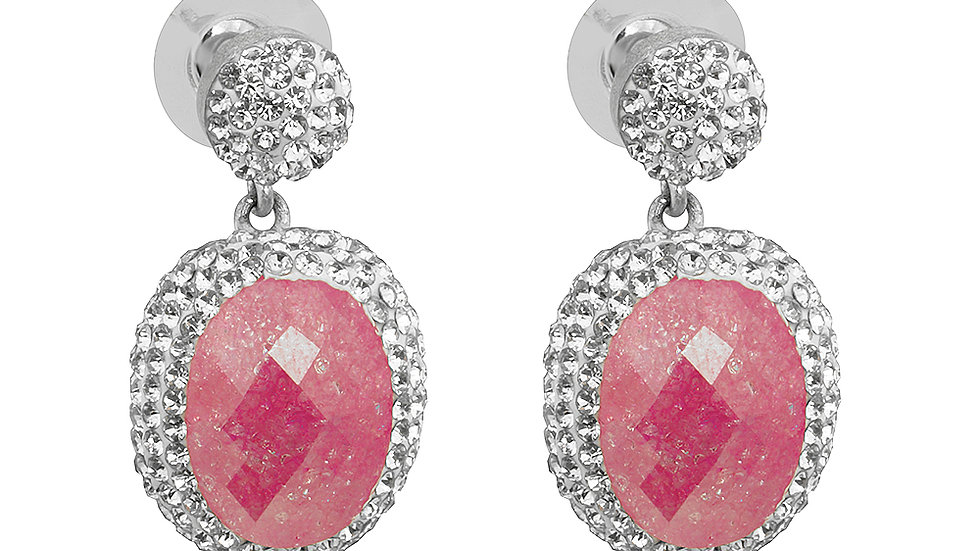 Pink druzy classic drop earrings. Silver set with white crystals