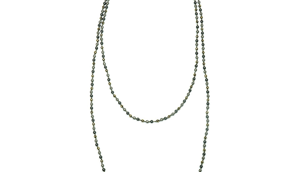 Hematite and beaded gems, knotted extra long necklace
