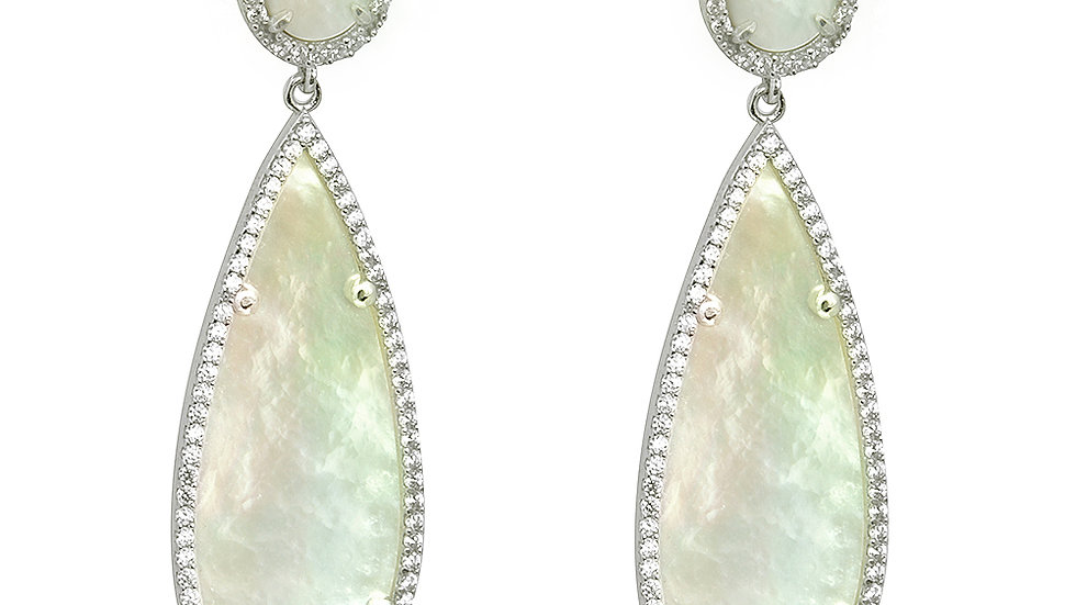 Mother of pearl drop earrings. Silver setting with cz elements. Length: 57mm