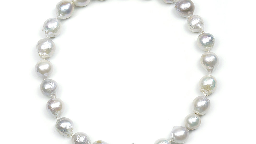 South Sea Baroque pearl necklace. Seashell silver clasp with cz elements
