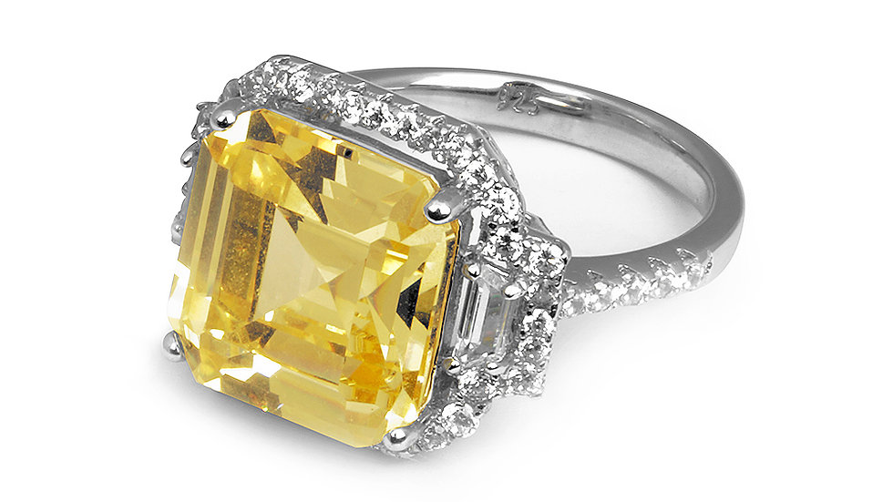Canary Inspired CZ ring with halo. Statement. Set in silver.