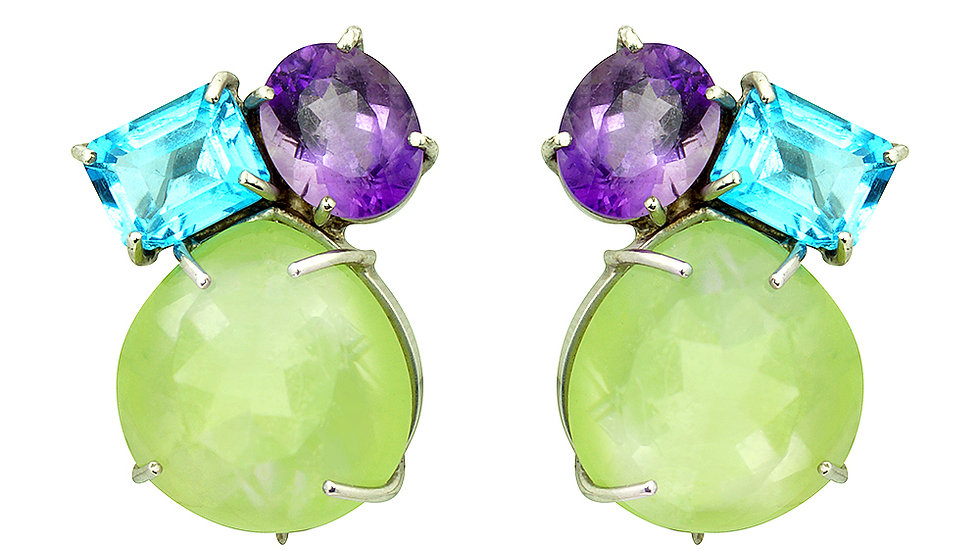 Genuine stone clip/post earrings. Blue Topaz, Amethyst and Peridot