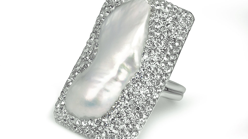 Rectangular pearl ring set in silver with white crystals. Adjustable