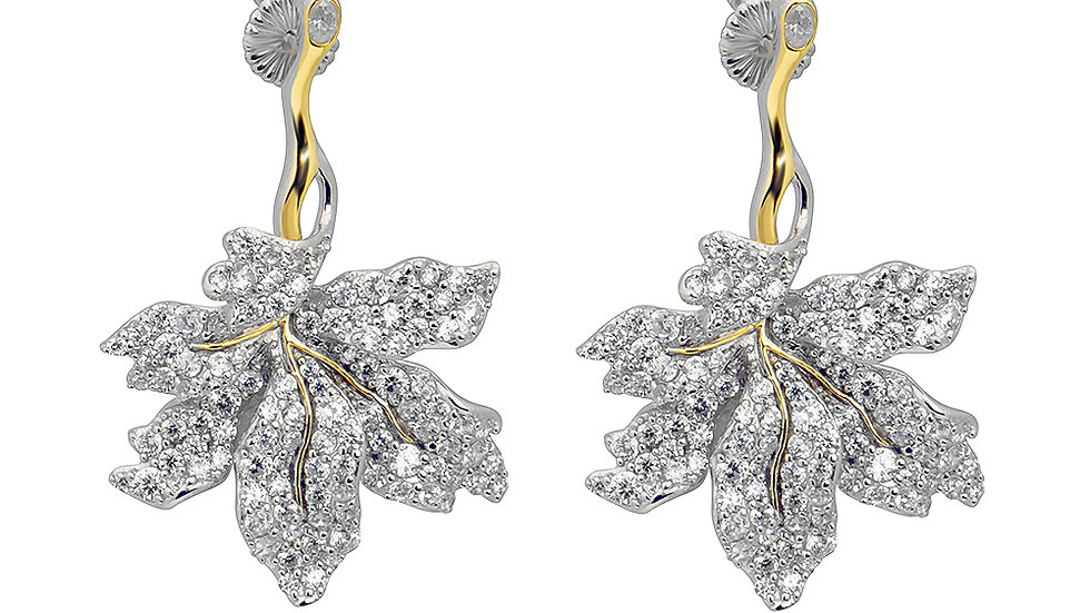 Beautiful CZ leaf drop earrings. With gold details