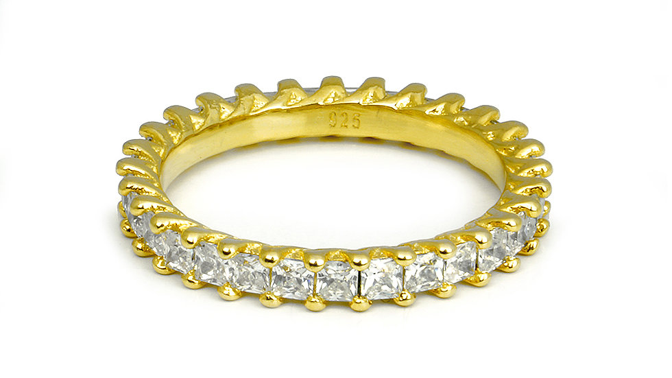 Gold plated silver band with cubic zirconia stones. Stackable
