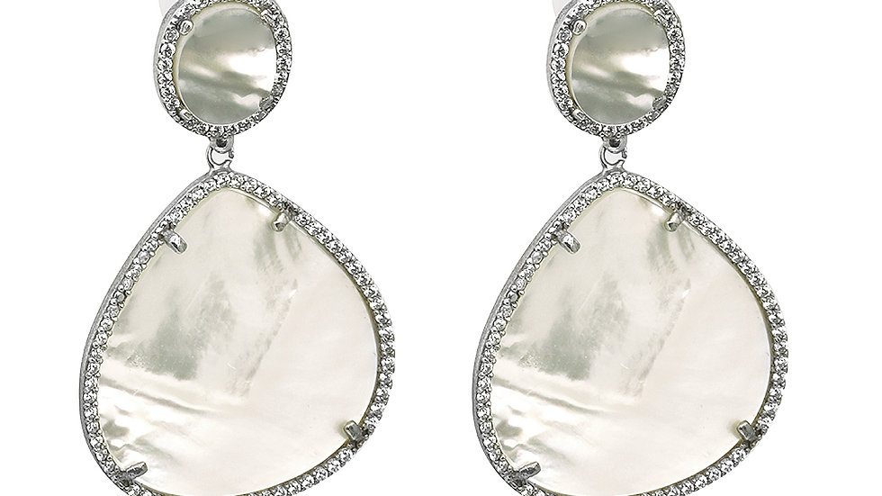Mother of pearl earrings. Set in silver with cz stones. Post back