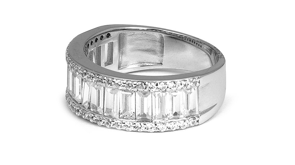 Silver band with cubic zirconia stones