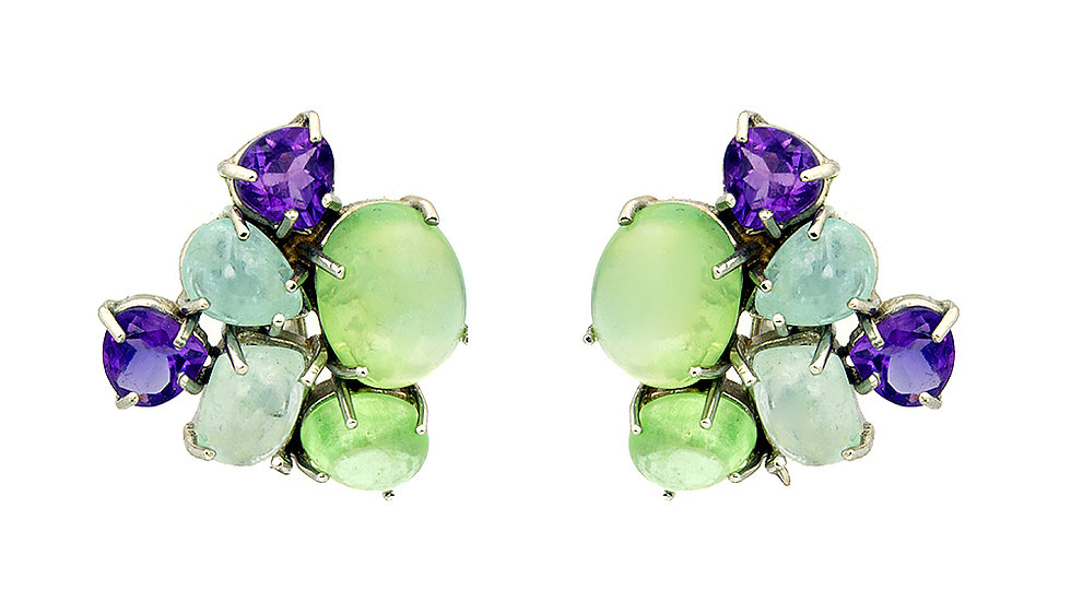 Genuine stone clip/post earrings. Peridot, Amethyst and Moonstone