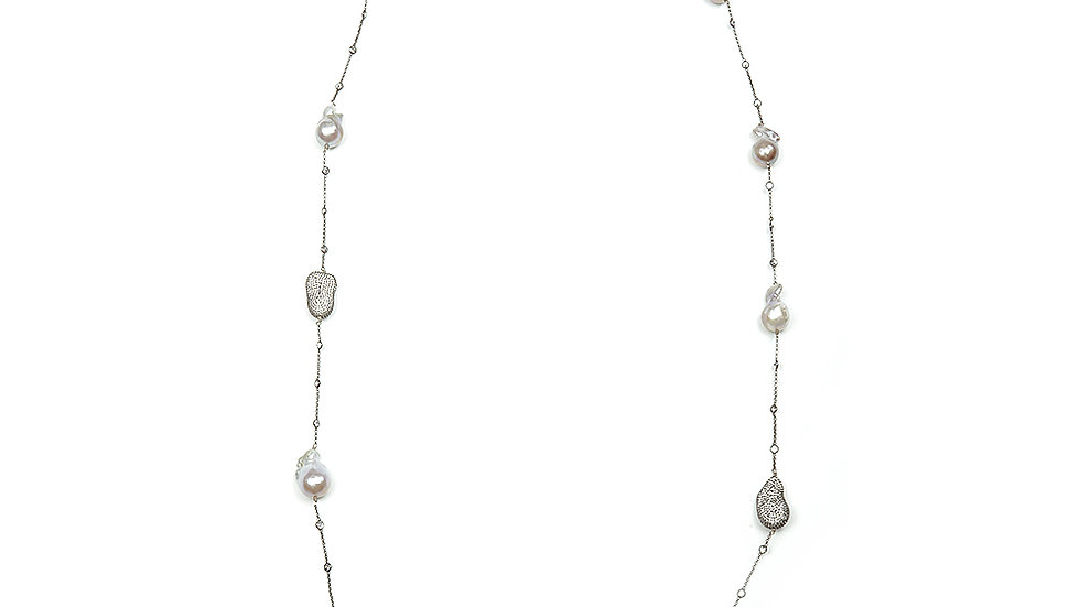 Baroque Pearl long necklace, oxidized silver chain with CZ stones.