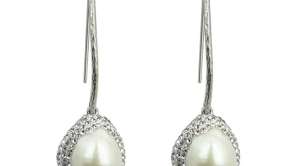 Cherry drop, South Sea Pearl earrings. Silver set with white crystals
