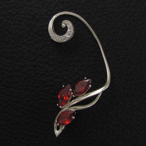 Серебряная каффа с красными камнями - фианитами