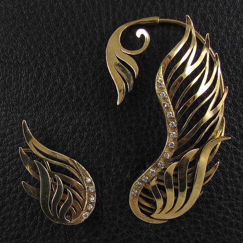 Золотой комплект асимметричных кафф крыльев