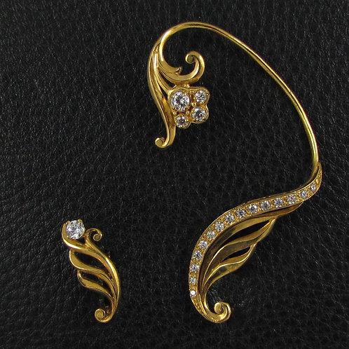 Кафф на все ухо из серебра в позолоте с ответной асимметричной серьгой