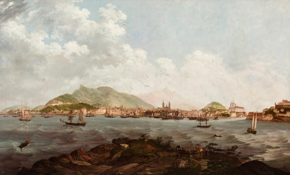 Vista do Rio de Janeiro - Tomada da Ilha dos Ratos, 1845, Pieter Godfred Bertichen, Litogravura