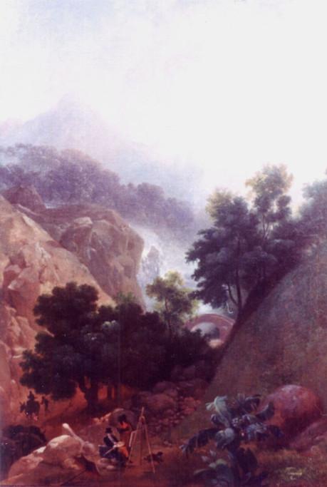 Cascatinha da Tijuca, 1816-1821 Nicolas Antoine Taunay, Óleo sobre madeira
