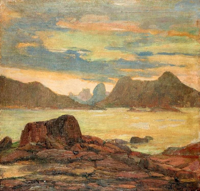 Mar e montanhas, Século XX, Lucílio de Albuquerque, Óleo sobre tela