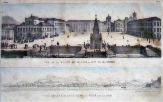 Vista da Praça do Palácio, Segunda metade do século XIX, Jean-Baptiste Debret, Litogravura