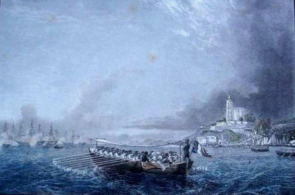 O príncipe e a princesa de Joinville deixam o Rio de Janeiro com uma canoa para embarcarem na fragata La Belle Poule, 1843 Autor desconhecido, Buril colorida