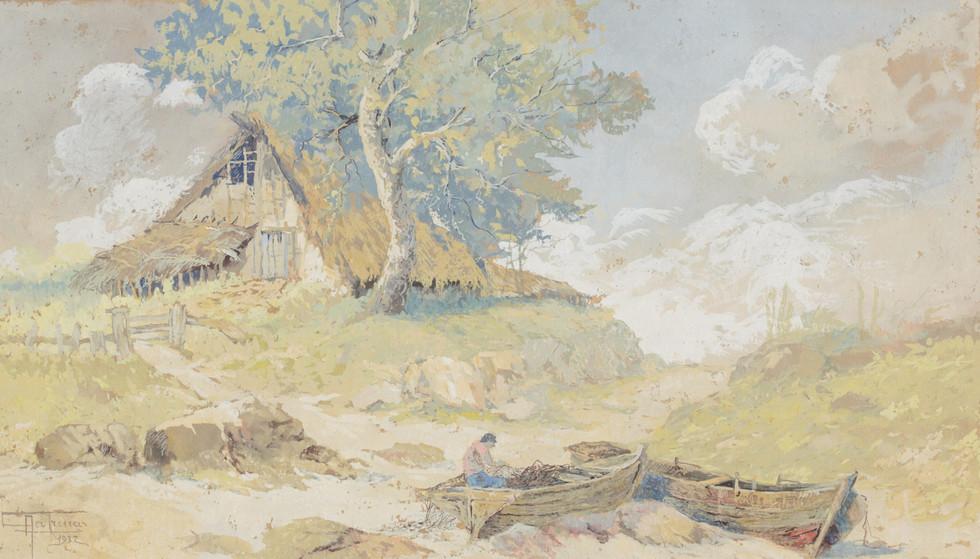 Cabana de Pescadores, 1932 Antonio Parreiras, Têmpera e pastel sobre papel