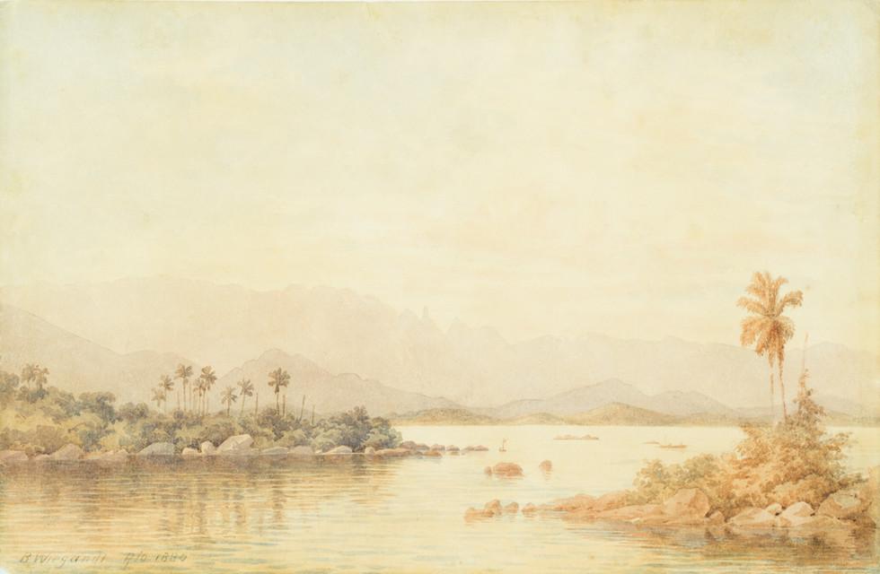 Vista da Baía de Guanabara, 1880 Bernard Wiegandt, Aquarela