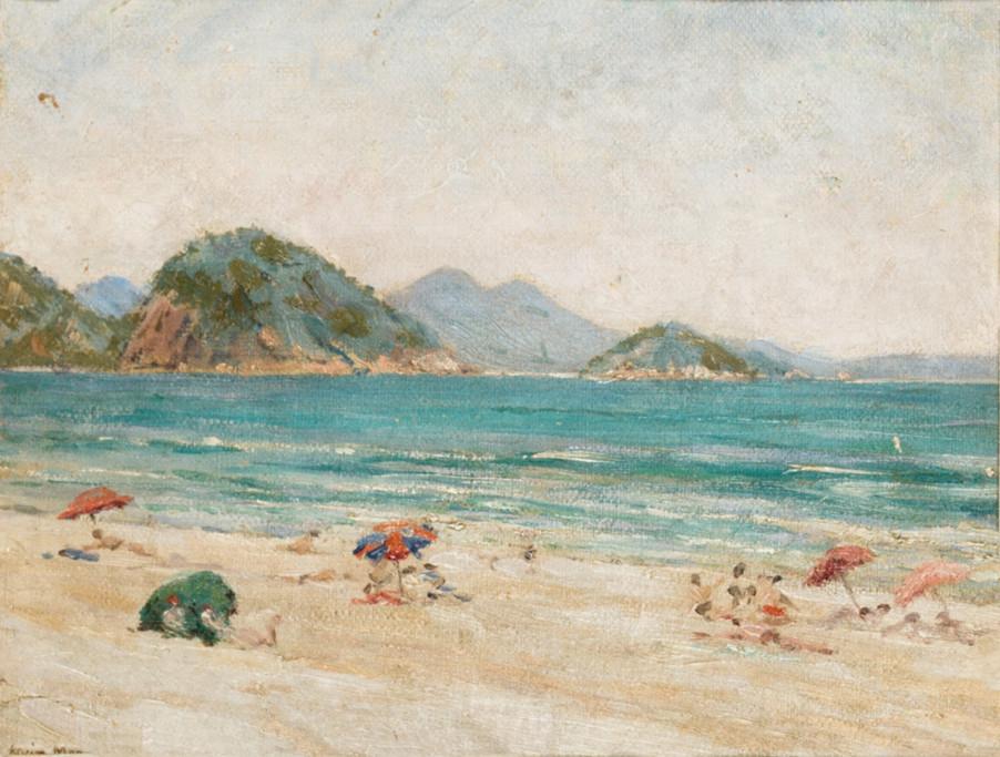 Copacabana, Início do século XX Adolfo de Alvim Menge, Óleo sobre papelão