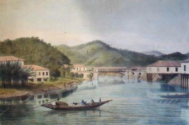 Estrada de Ferro D. Pedro II - ponte sobre o Rio Pirahy, Século XIX, Autor desconhecido, Gravura