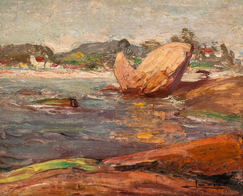 Pedras e Mar, Século XX  Lucílio de Albuquerque Óleo sobre cartão