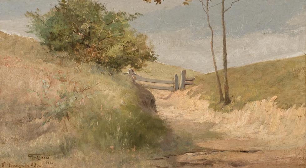 Tranqueira - Barra Mansa, 1900, Antonio Parreiras, Óleo sobre madeira