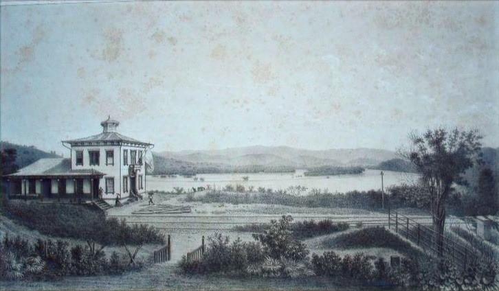Estrada de Ferro D. Pedro II - Estação de Vassouras, Século XIX, Litografia  Autor desconhecido