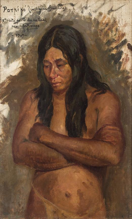 Cabeça de Índio (porpipó), 1909  Antonio Parreiras, Óleo sobre tela