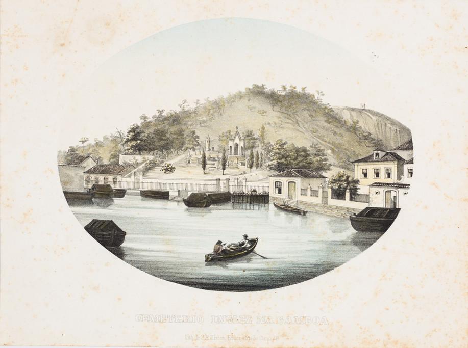 Cemitério Inglêz na Gamboa,  Século XIX Autor desconhecido, Litogravura