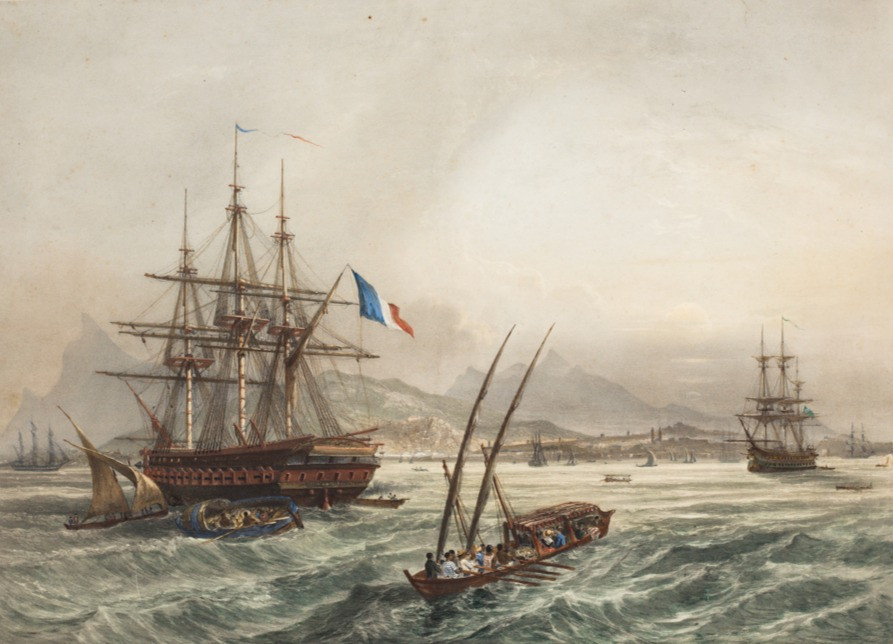 A Fragata La Belle Poule - Rio de Janeiro, Século XIX Autor desconhecido, Litogravura