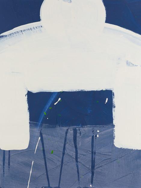 KOKESHI BLUE CREAM Framed 20.25 X 1 X 23.25 SOLD