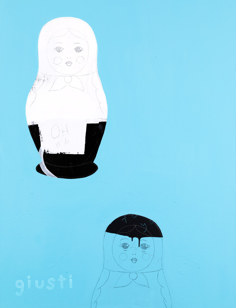 """RUSSIAN DOLLS BLUE 30"""" x 40"""" Available"""