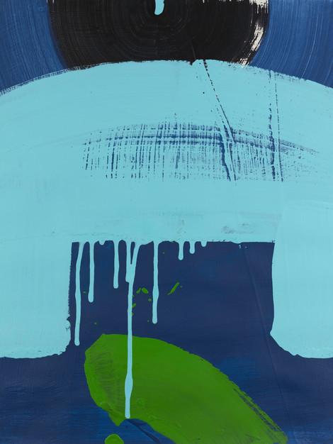 KOKESHI BLUE GREEN Framed 20.25 X 1 X 23.25 SOLD