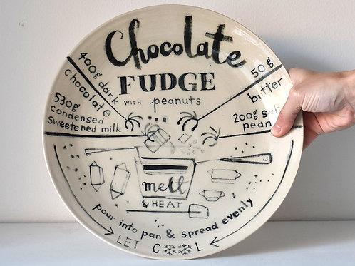chocolate fudge recipe plate