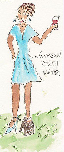 garden party wear drawing by Sarah Van Arsdale