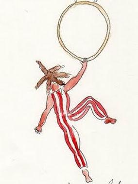 acrobat drawing by Sarah Van Arsdale